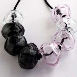 Charcoal pink glass necklace - Avril Bowie