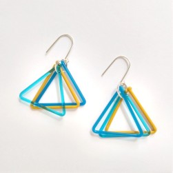 Small triangle trio earrings in blue and yellow - Avril Bowie