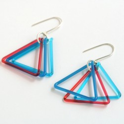 Small triangle trio in transparent blue and coral - Avril Bowie