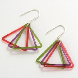 Small triangle trio green, coral, violet - Avril Bowie